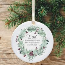 In Loving Memory Personalised Remembrance Christmas Tree Decoration - Holly Wreath Design